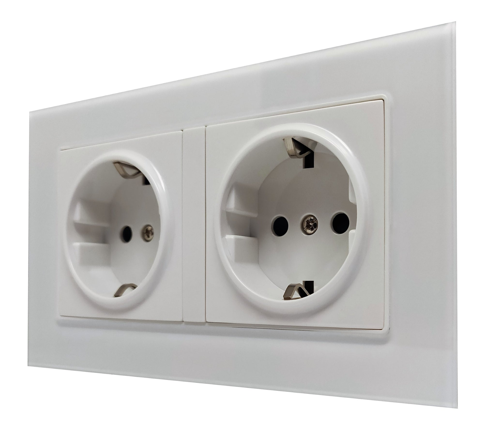 Double Schuko EU 16A 2-Pin AC Wall Power Socket in White Glass Frame & White Centre