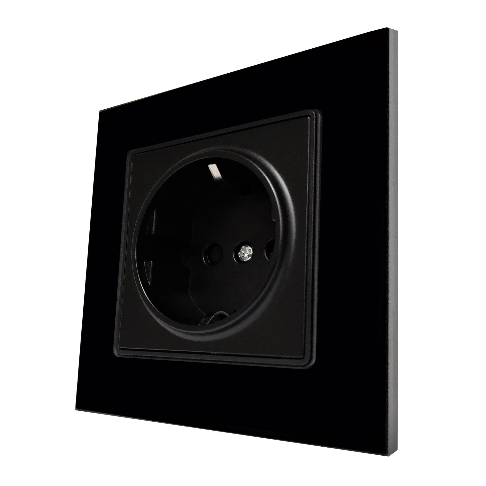 Single Schuko EU 16A 2-Pin AC Wall Power Socket in Black Glass Frame & Black Centre