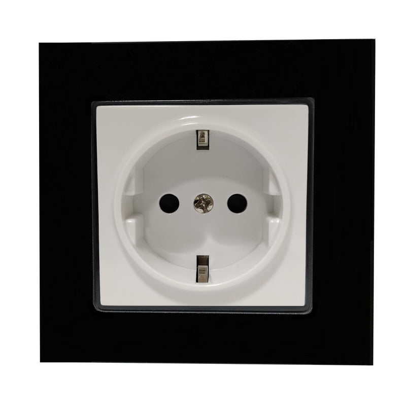 Single Schuko EU 16A 2-Pin AC Wall Power Socket in Black Glass Frame & White Centre