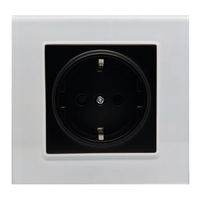 Single Schuko EU 16A 2-Pin AC Wall Power Socket in White Glass Frame & Black Centre