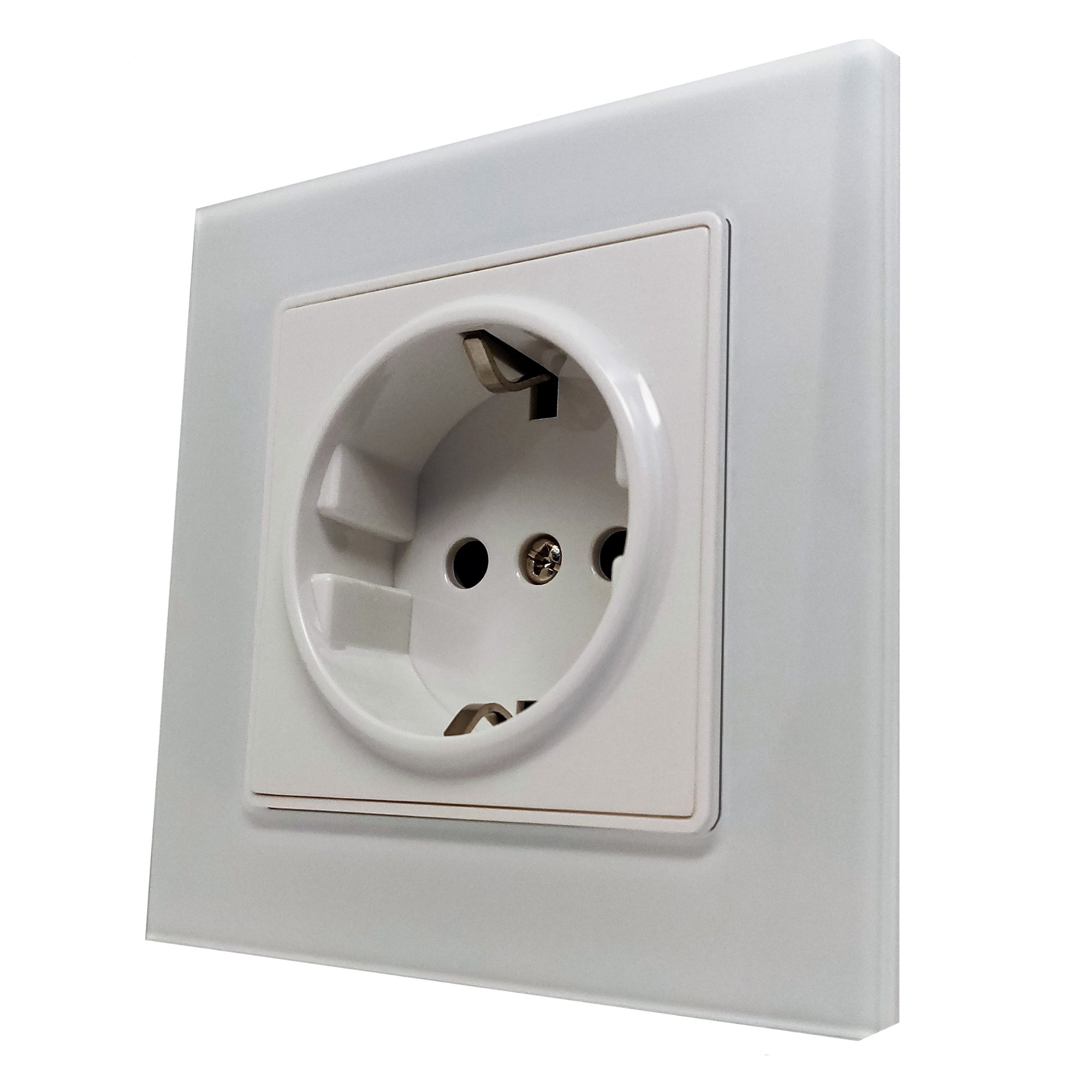 Single Schuko EU 16A 2-Pin AC Wall Power Socket in White Glass Frame & White Centre