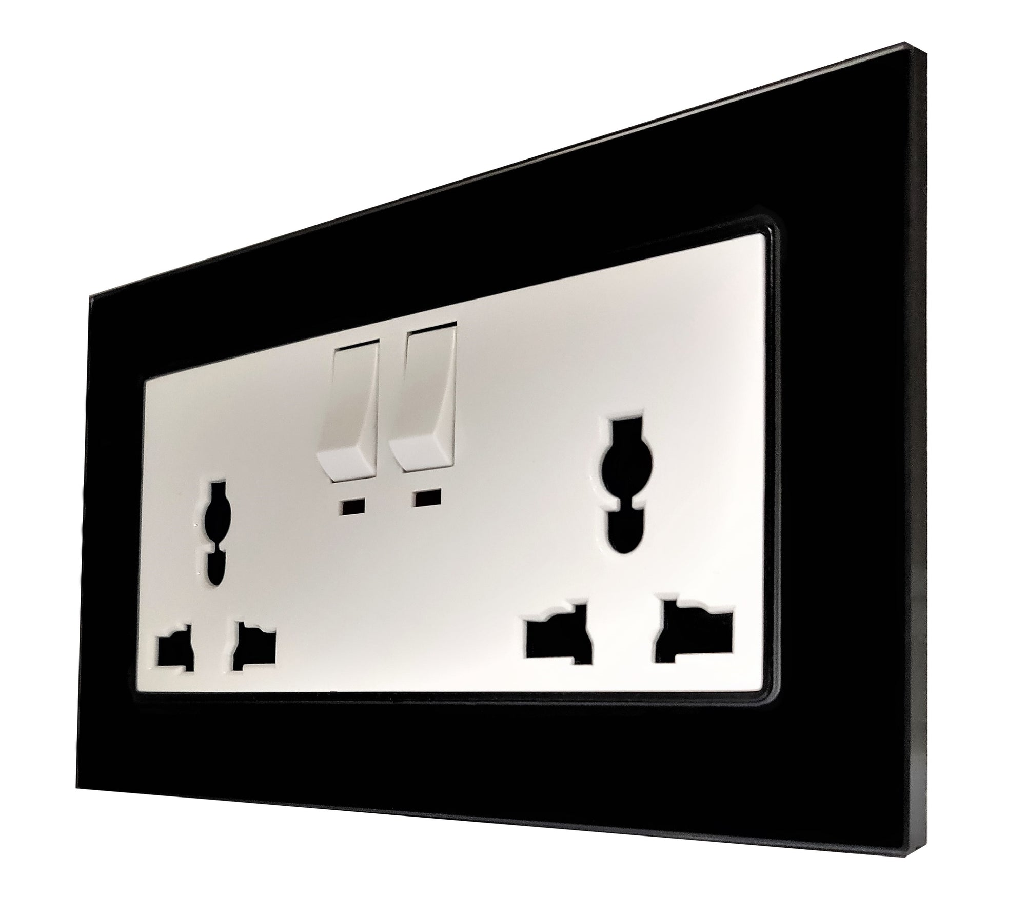 Double Universal Multi-Function AC Wall Power Socket in Black Glass Frame & White Centre