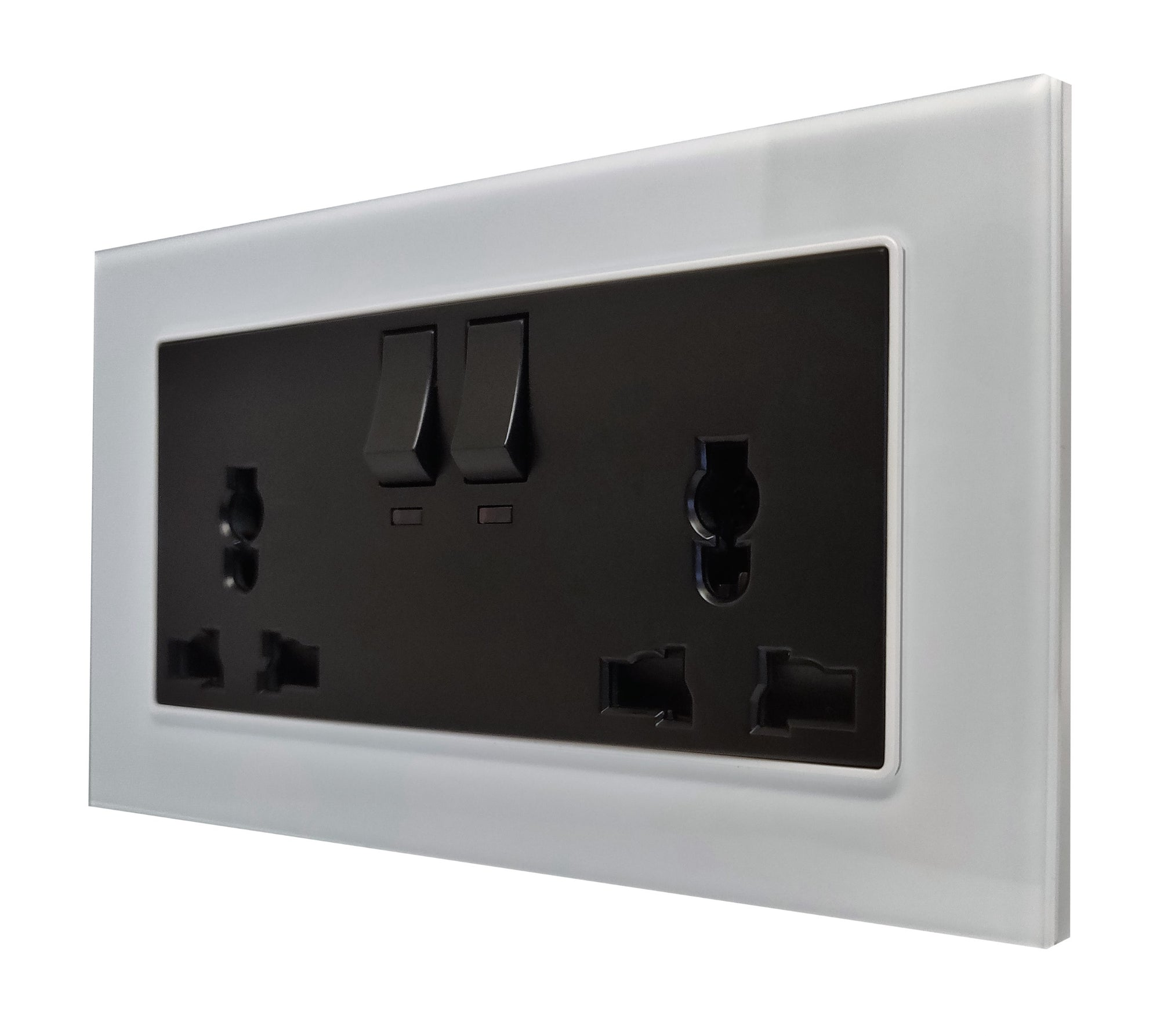 Double Universal Multi-Function AC Wall Power Socket in White Glass Frame & Black Centre