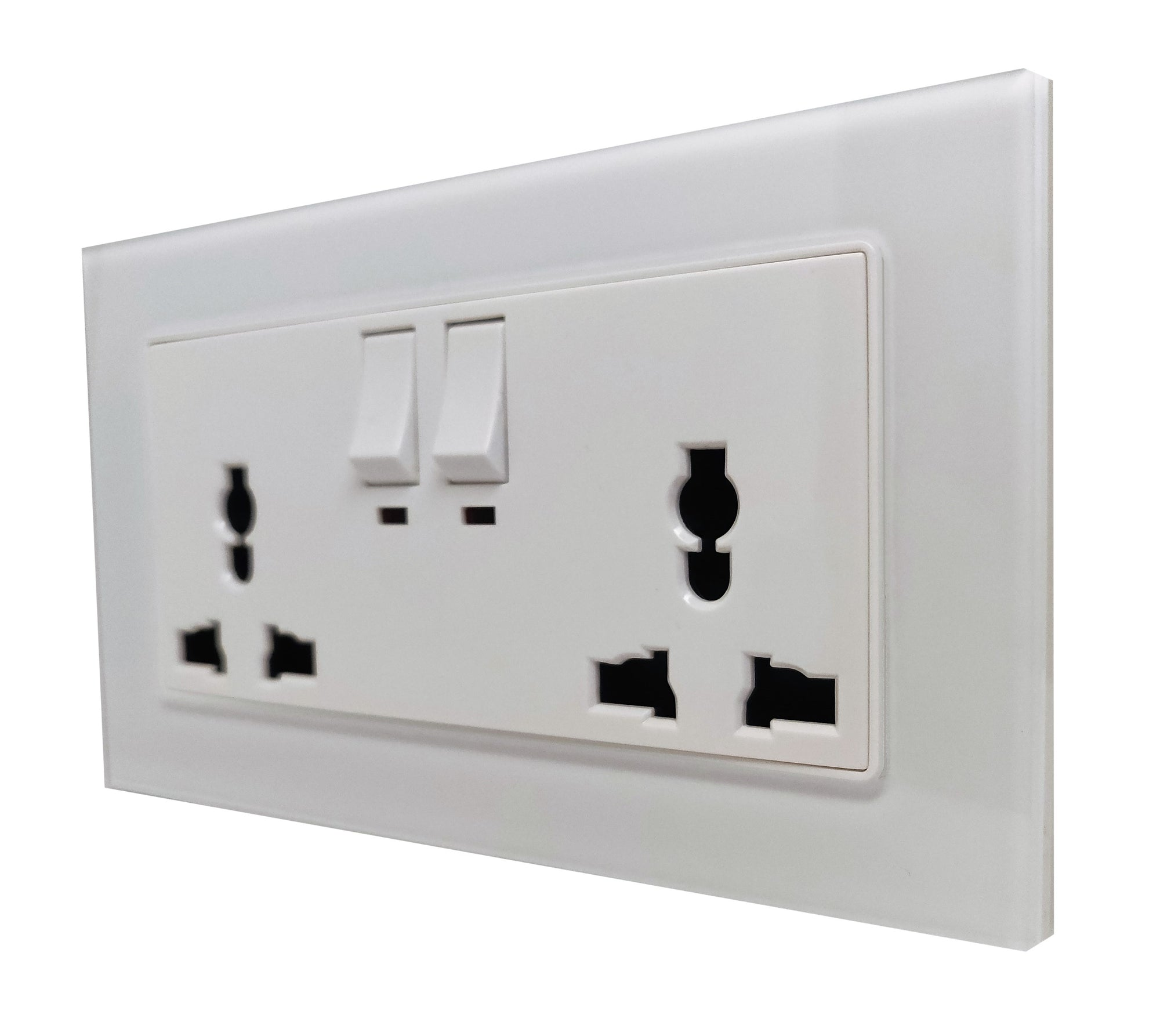 Double Universal Multi-Function AC Wall Power Socket in White Glass Frame & White Centre