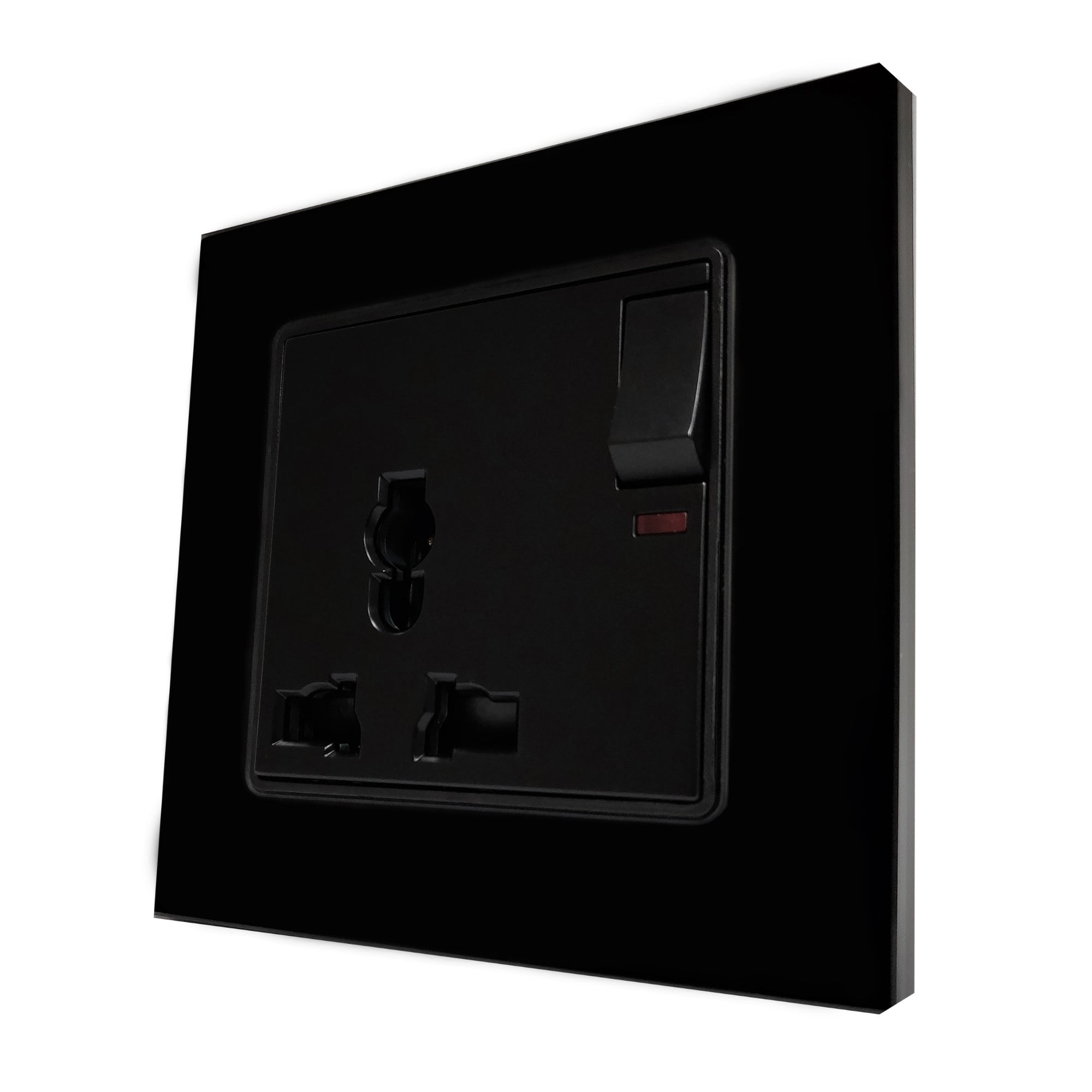 Single Universal Multi-Function AC Wall Power Socket in Black Glass Frame & Black Centre