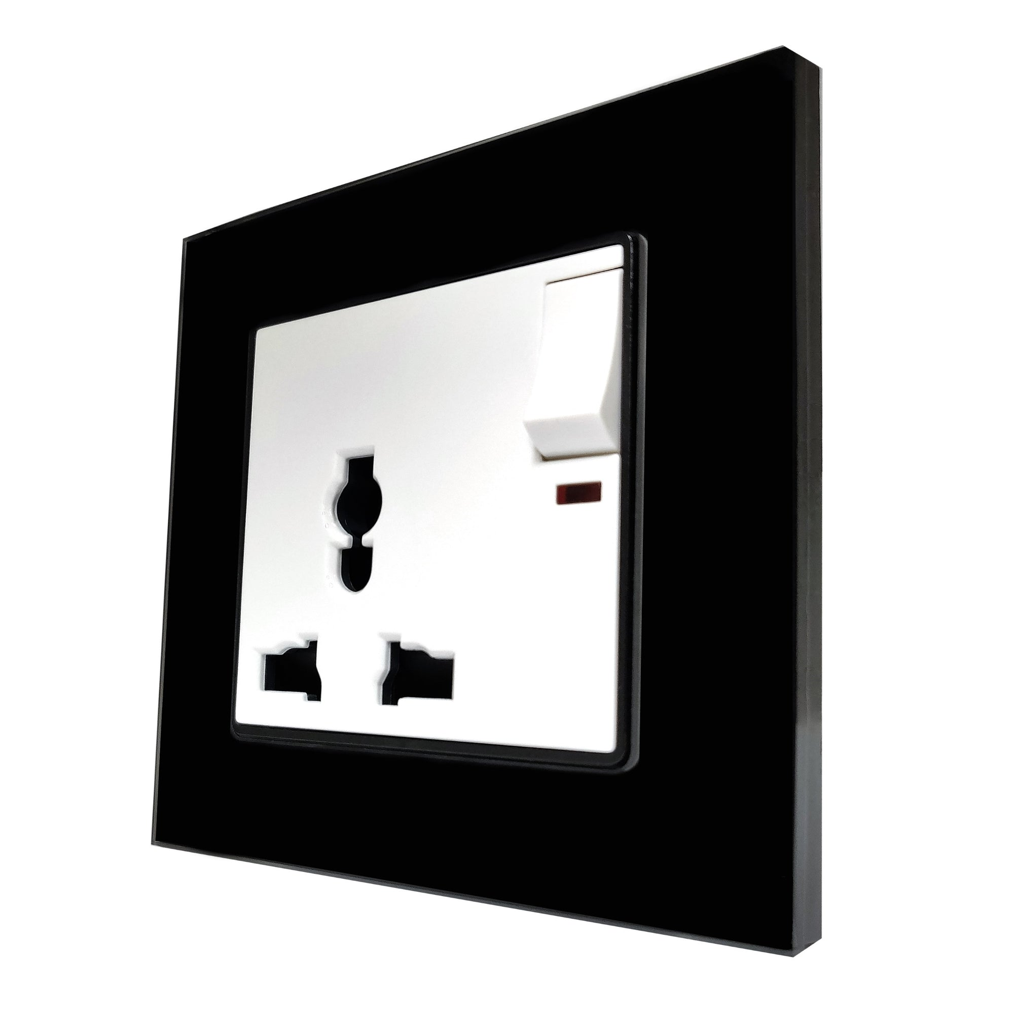 Single Universal Multi-Function AC Wall Power Socket in Black Glass Frame & White Centre