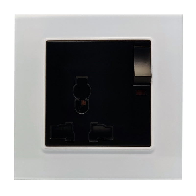 Single Universal Multi-Function AC Wall Power Socket in White Glass Frame & Black Centre
