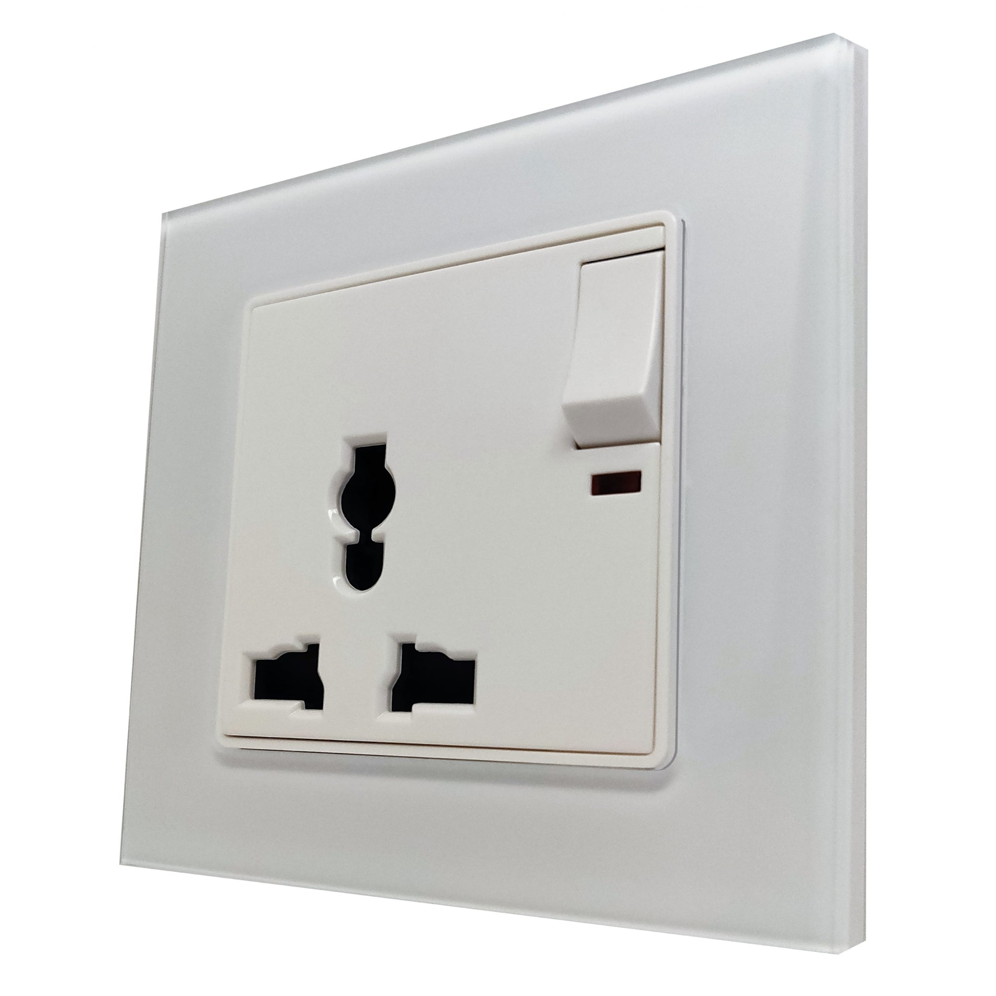 Single Universal Multi-Function AC Wall Power Socket in White Glass Frame & White Centre