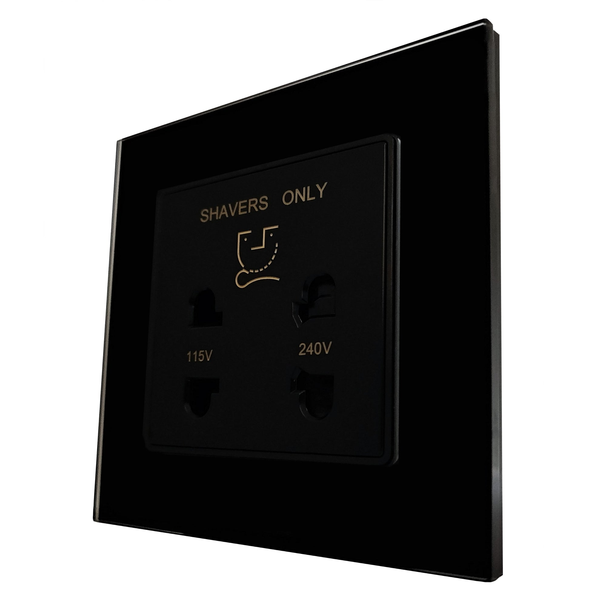 Single Shaver AC Wall Power Socket in Black Glass Frame & Black Centre