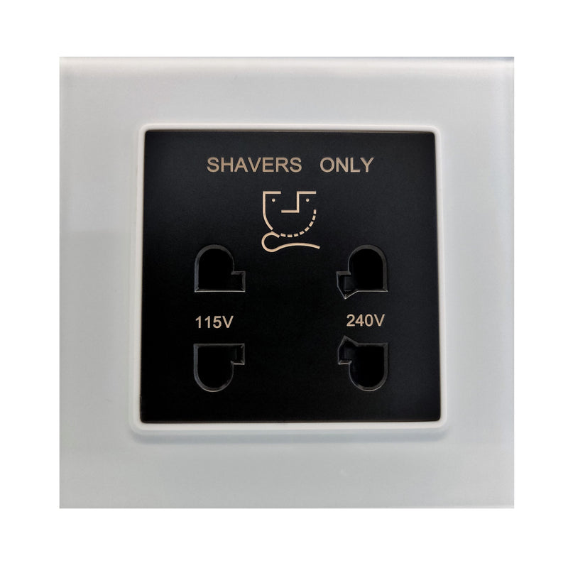 Single Shaver AC Wall Power Socket in White Glass Frame & Black Centre