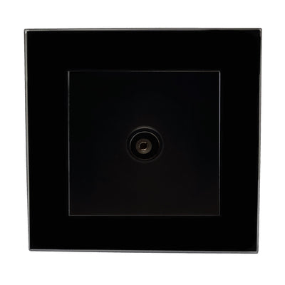 Single TV Antenna Wall Socket Coaxial Female in Black Glass Frame & Black Centre
