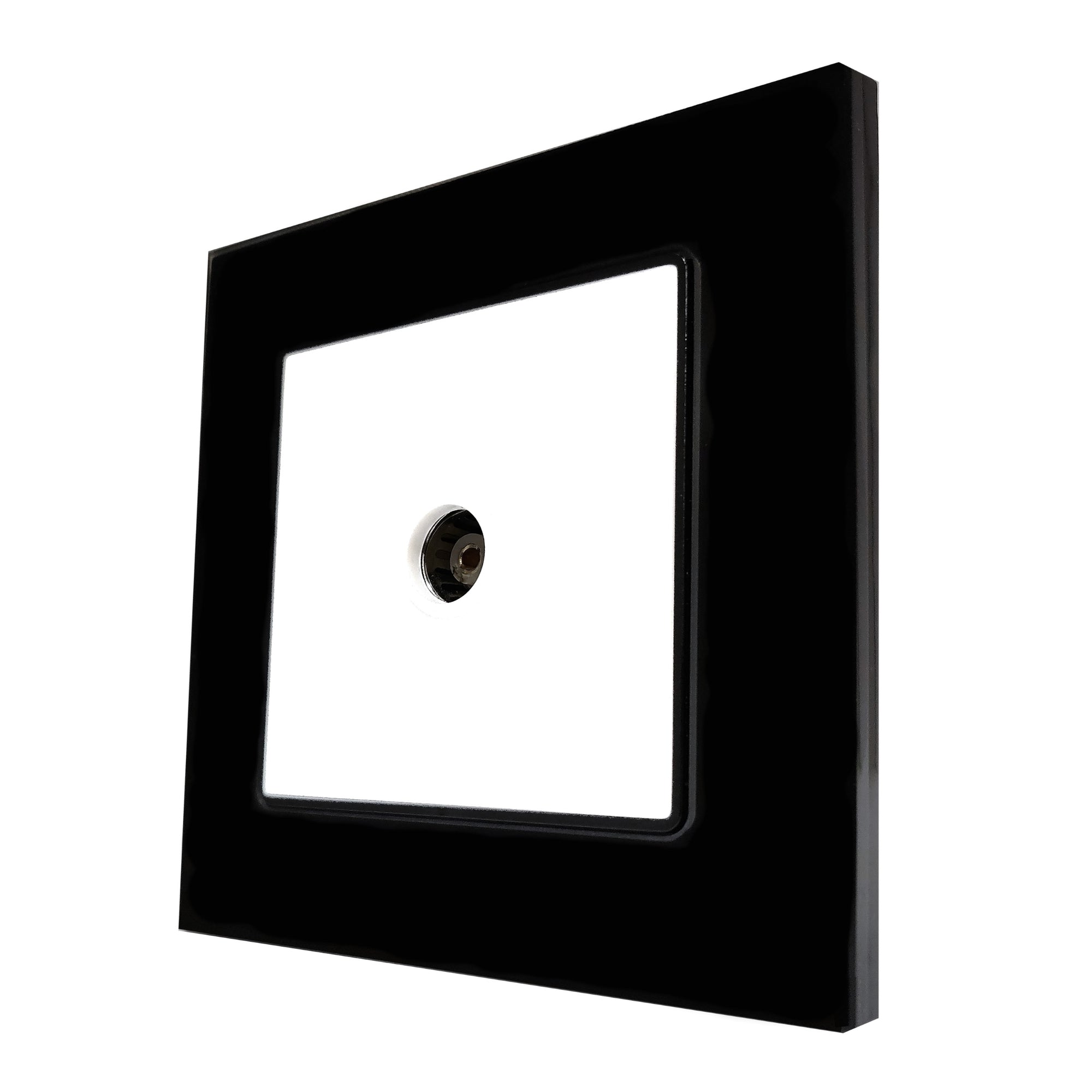 Single TV Antenna Wall Socket Coaxial Female in Black Glass Frame & White Centre