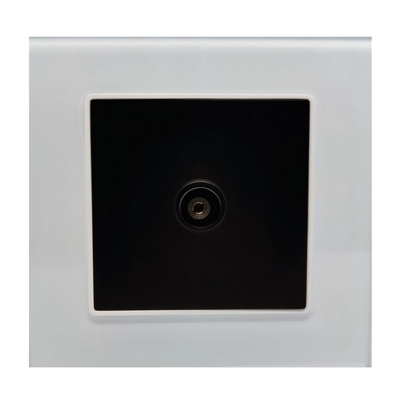 Single TV Antenna Wall Socket Coaxial Female in White Glass Frame & Black Centre