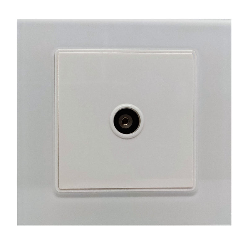 Single TV Antenna Wall Socket Coaxial Female in White Glass Frame & White Centre