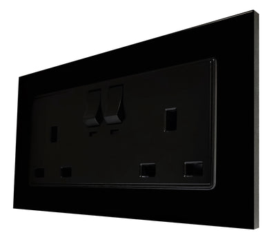 Double UK 13A 3-Pin AC Wall Power Socket in Black Glass Frame & Black Centre