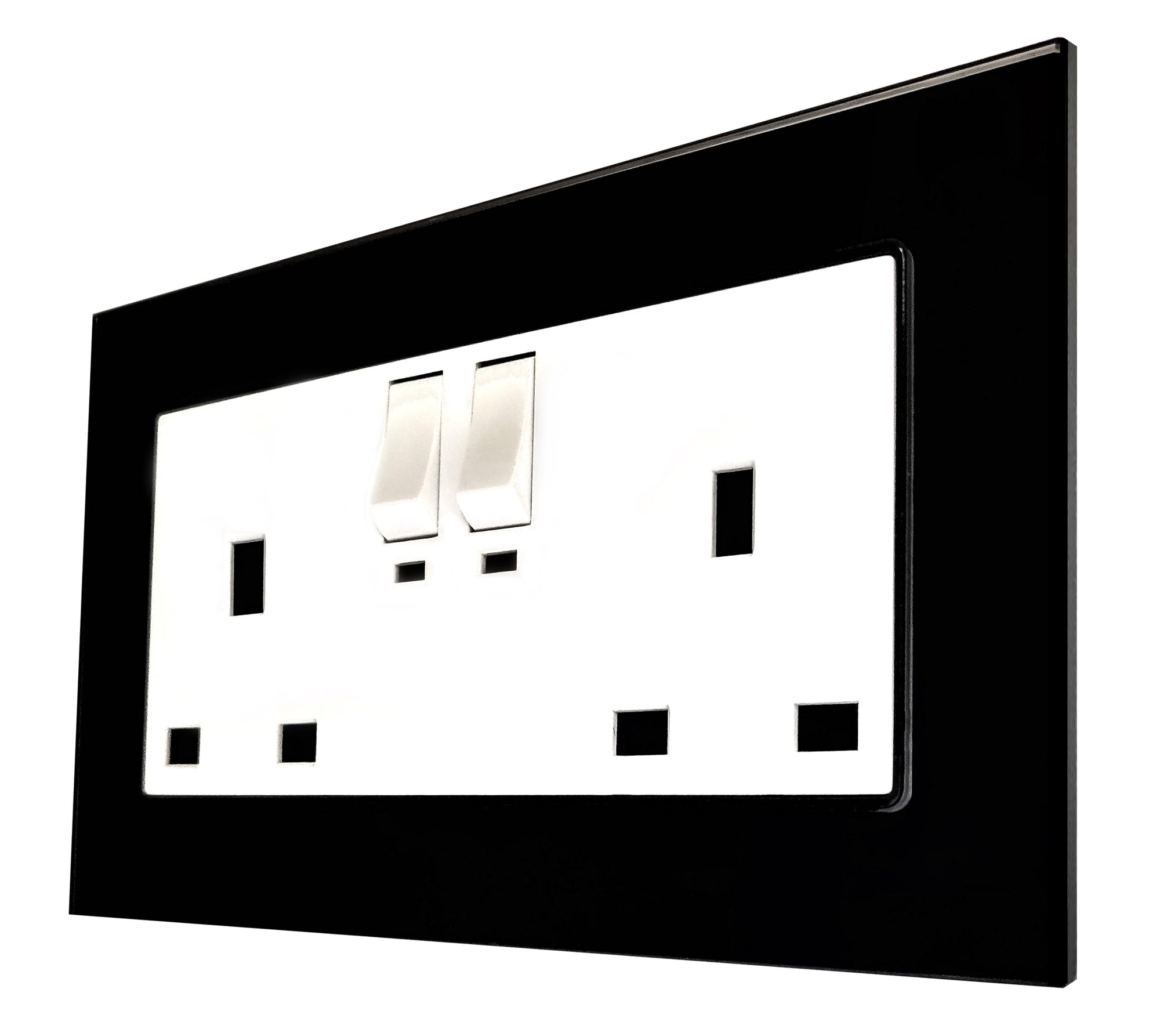 Double UK 13A 3-Pin AC Wall Power Socket in Black Glass Frame & White Centre