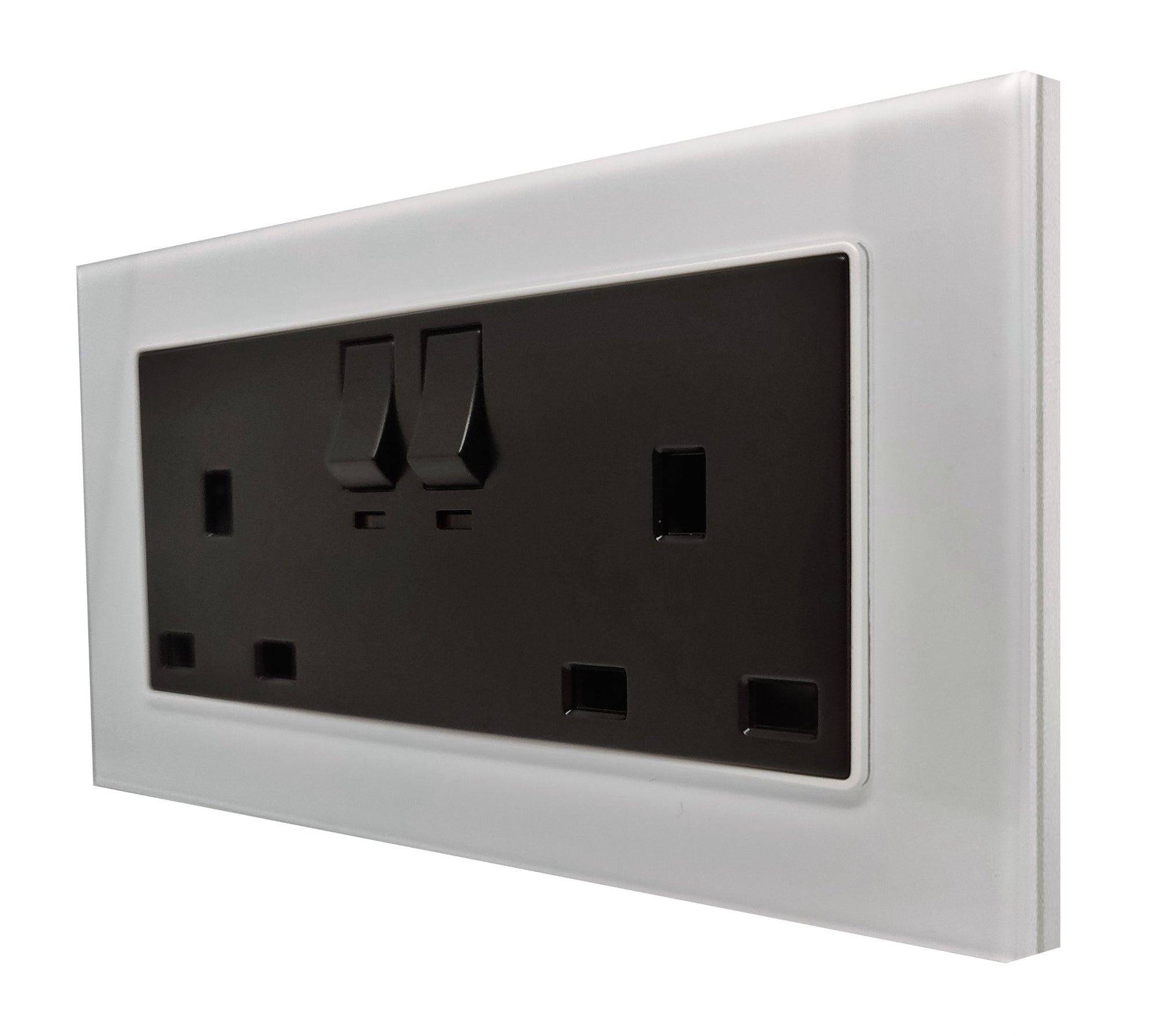 Double UK 13A 3-Pin AC Wall Power Socket in White Glass Frame & Black Centre