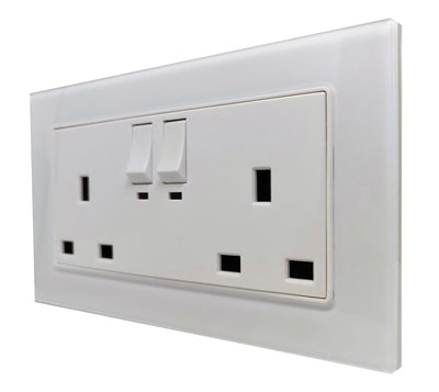Double UK 13A 3-Pin AC Wall Power Socket in White Glass Frame & White Centre