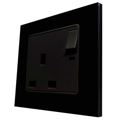 Single UK 13A 3-Pin AC Wall Power Socket in Black Glass Frame & Black Centre