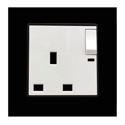 Single UK 13A 3-Pin AC Wall Power Socket in Black Glass Frame & White Centre
