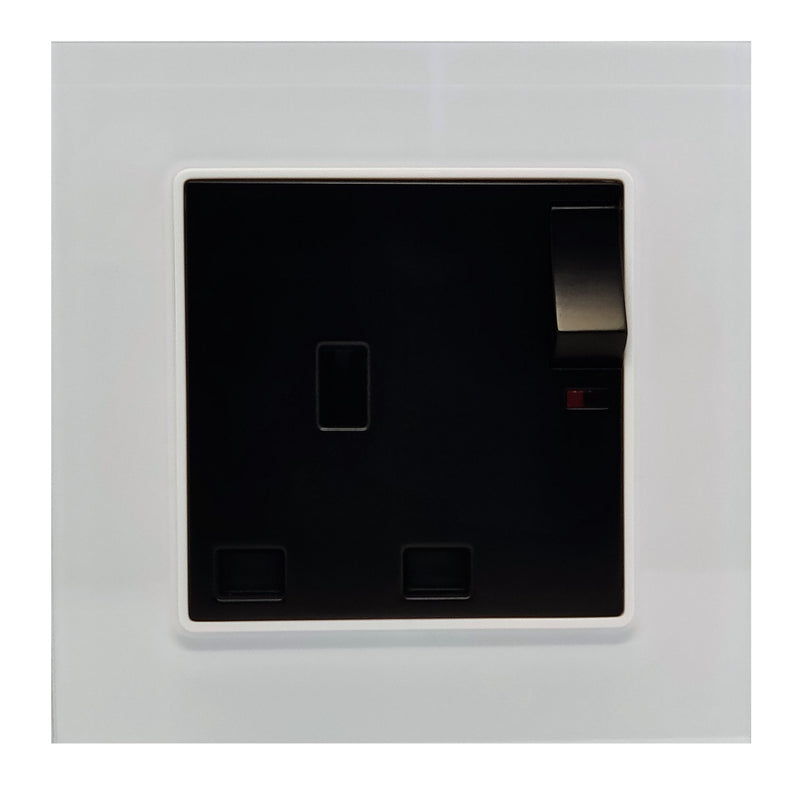 Single UK 13A 3-Pin AC Wall Power Socket in White Glass Frame & Black Centre