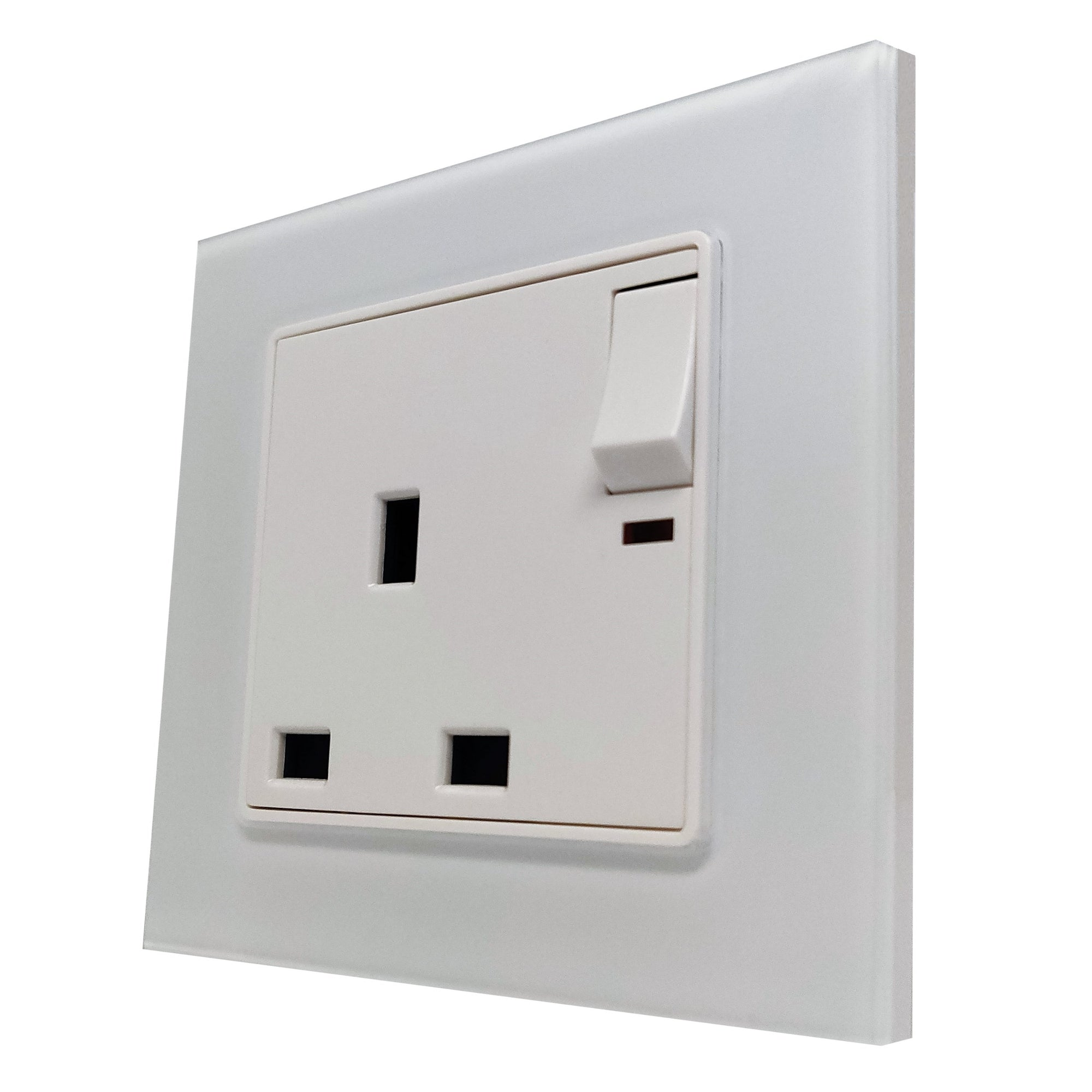 Single UK 13A 3-Pin AC Wall Power Socket in White Glass Frame & White Centre
