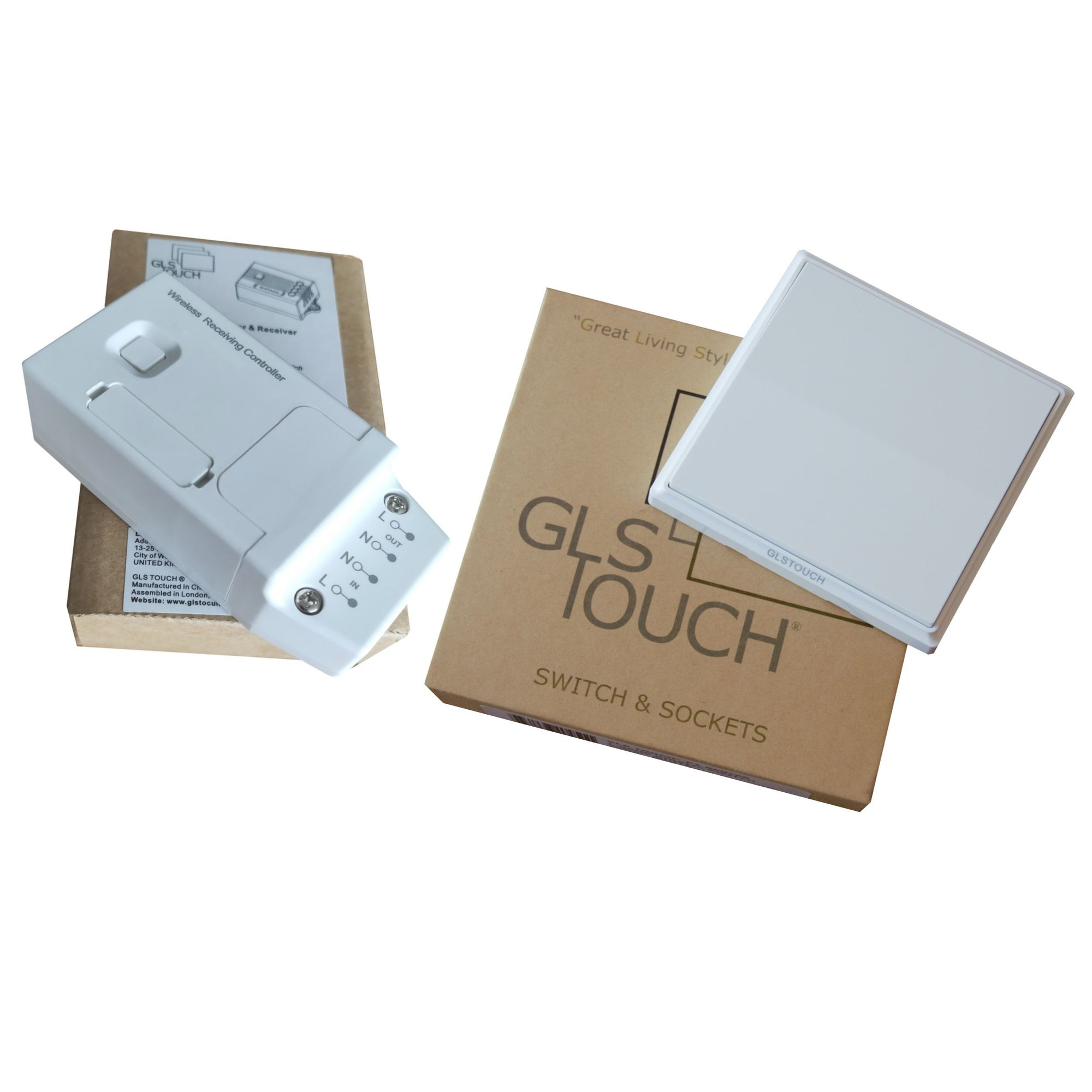GLSTouch Kinetic RF Wireless 1 Gang 1 Way Light Switch Kit Pack