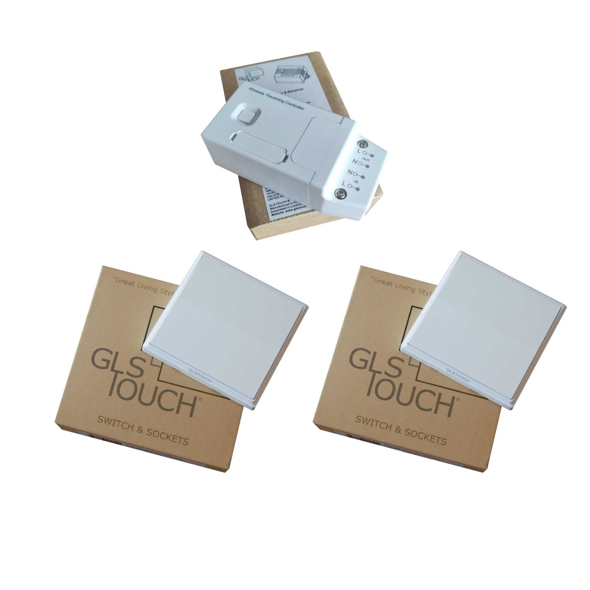 GLSTouch Kinetic RF Wireless 1 Gang 2 Way Light Switch Kit Pack