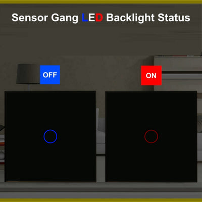 Black Glass Touch Panel Light Switch 1 Gang 1 Way with Remote