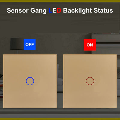 Gold Glass Touch Panel Light Switch 2 Gang 1 Way