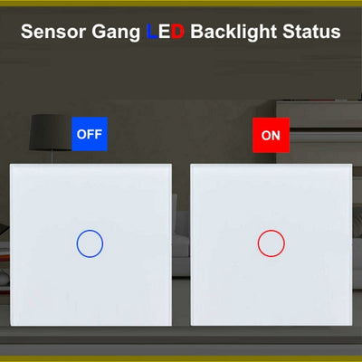 White Glass Touch Panel Light Switch 2 Gang 1 Way with Remote