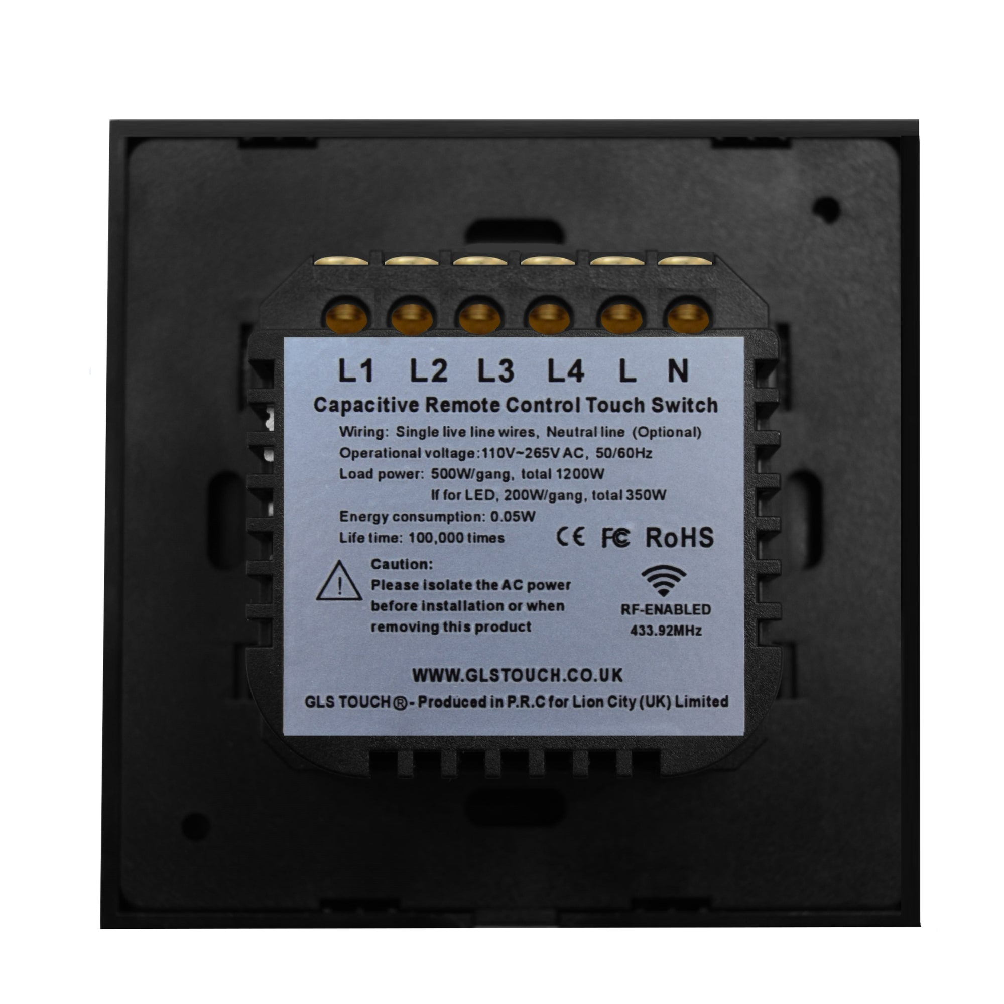 Black Gl Touch Panel Light Switch 4 Gang 1 Way on wiring a 3-way switch, 4-way switch diagram with power to the 4 way switch, installing a 4-way switch,