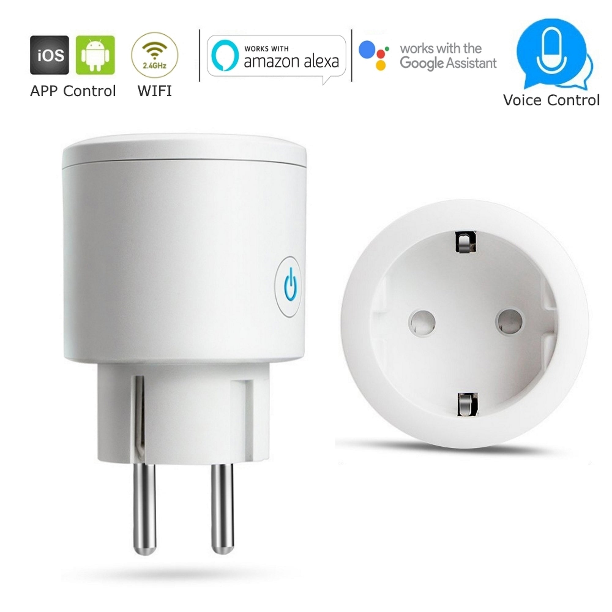 EU 2-Pin Plug 16A Smart WiFi Socket - Intelligent Home Automation Control