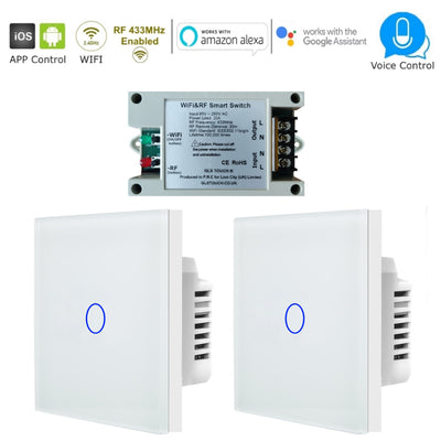 Smart Wireless WiFi & RF 1 Gang 2 Way Touch Light Switch Pack - White Glass