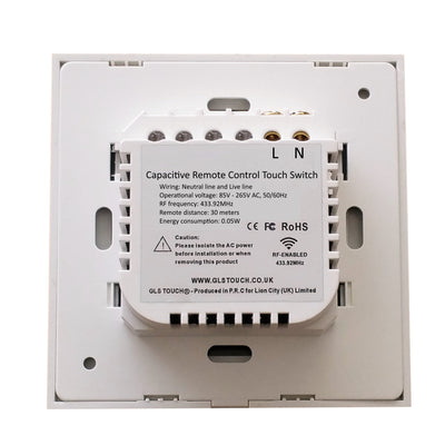 White Glass Wall Remote Control Panel 3 Gang for RF-2Way (AC)