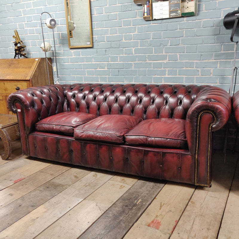 Chesterfield 3 Seat Sofa in Burgundy Red | Pre-Owned