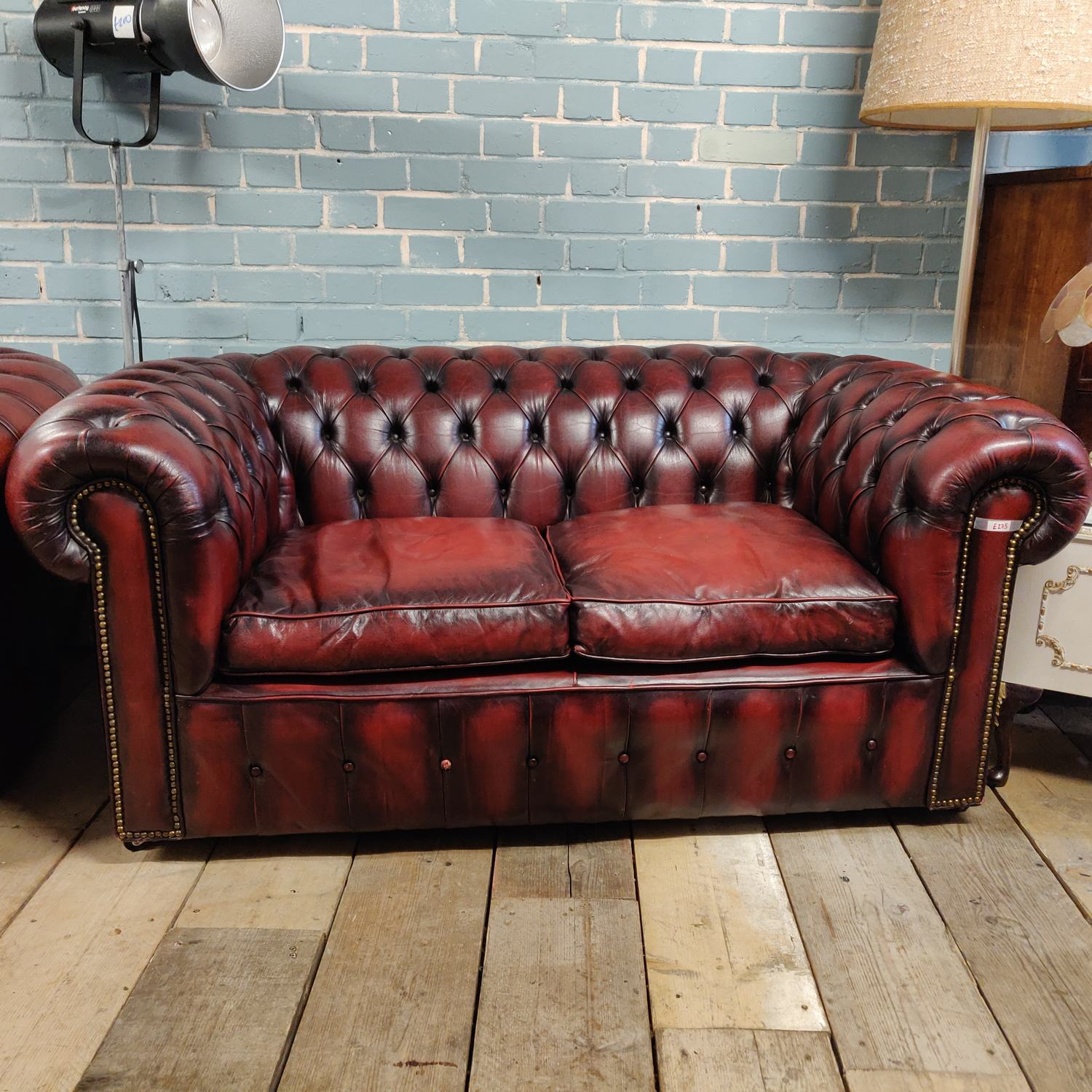 Chesterfield 2 Seat Sofa in Burgundy Red | Pre-Owned