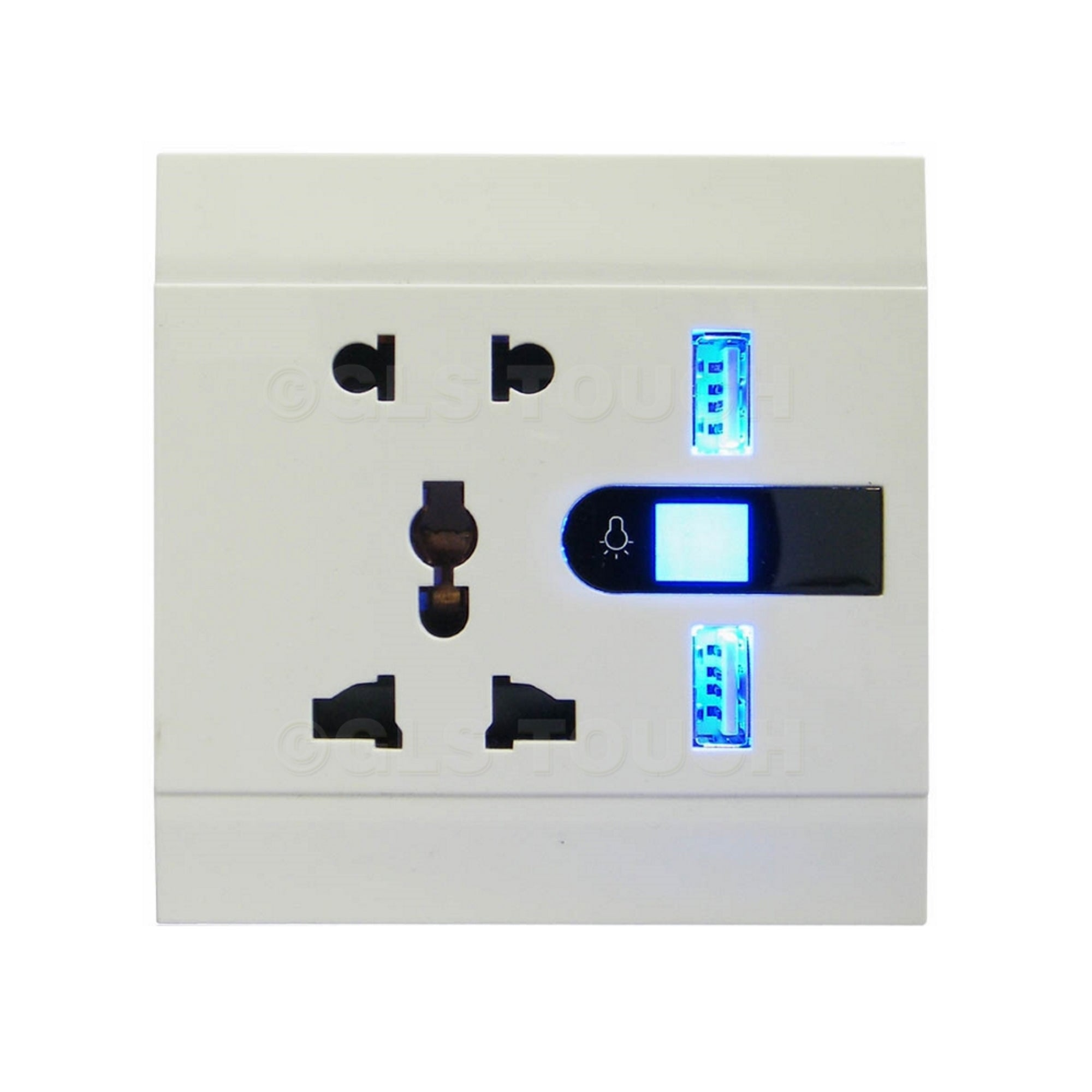 Universal 13A/10A Wall Power Socket 5-Pin & Dual USB Charger - White