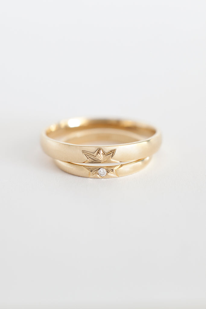 Wedding band with diamond star design adriana chede london