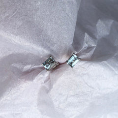Acquamarine Emerald Cut White Gold Earrings