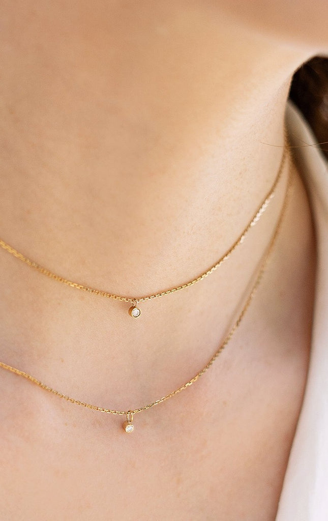 Éclair 18ct Gold Chain Necklace with Diamond - Adriana Chede Jewellery