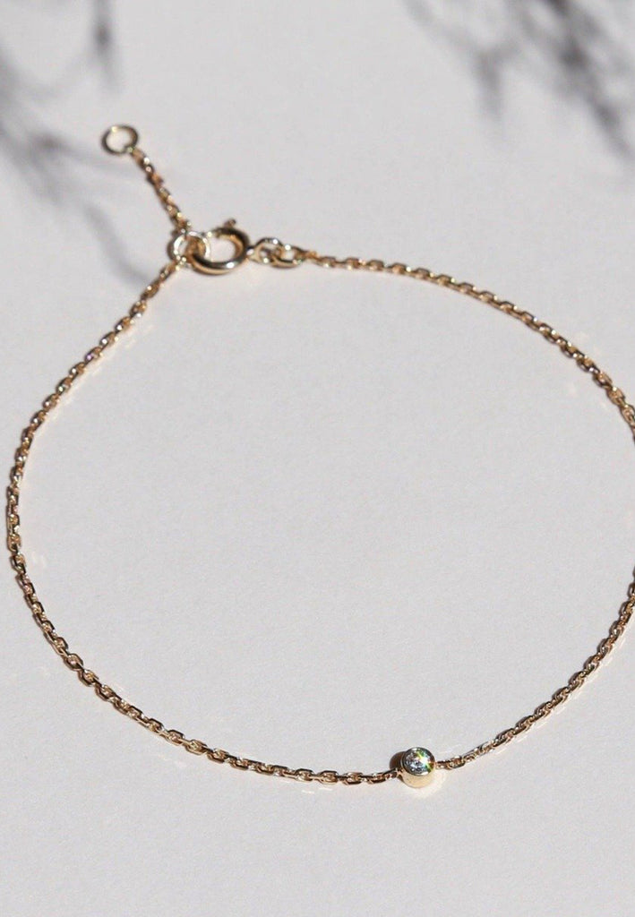 Éclair 18ct Gold Chain Bracelet with Diamond - Adriana Chede Jewellery