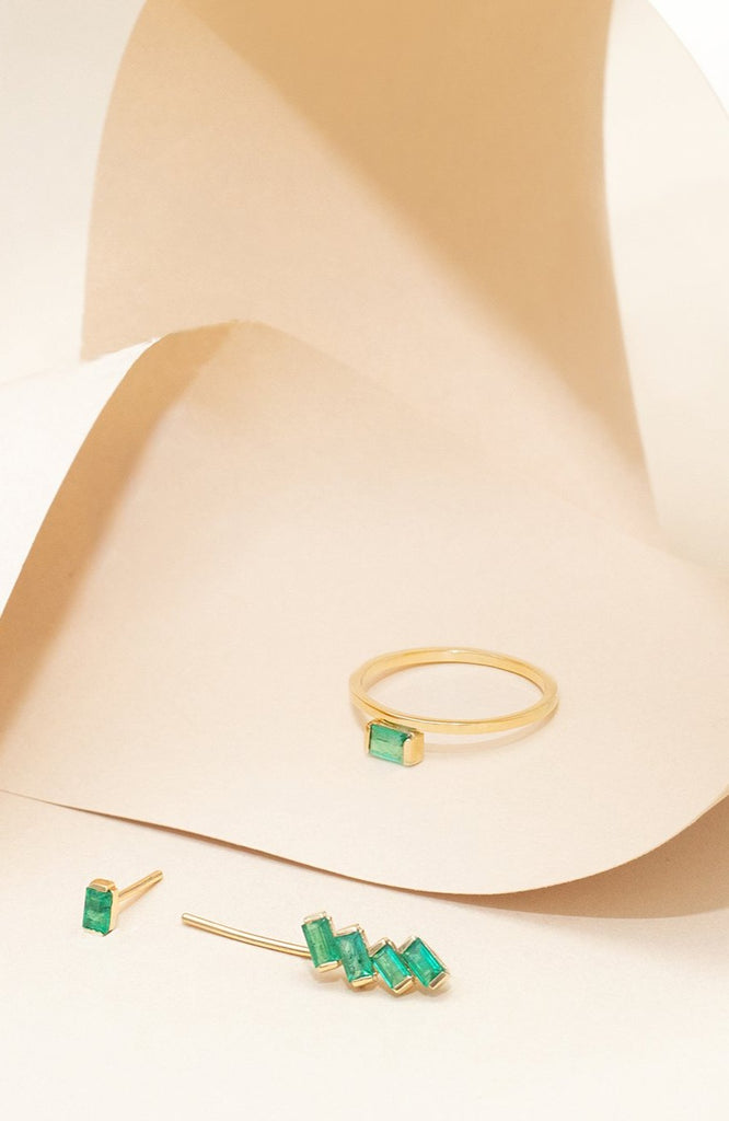 Emerald Brazilian Gemstones Earcuff Solid Gold London - Adriana Chede Jewellery
