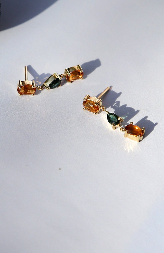 18CT Gold long citrine and green tourmaline earrings - Adriana Chede Jewellery