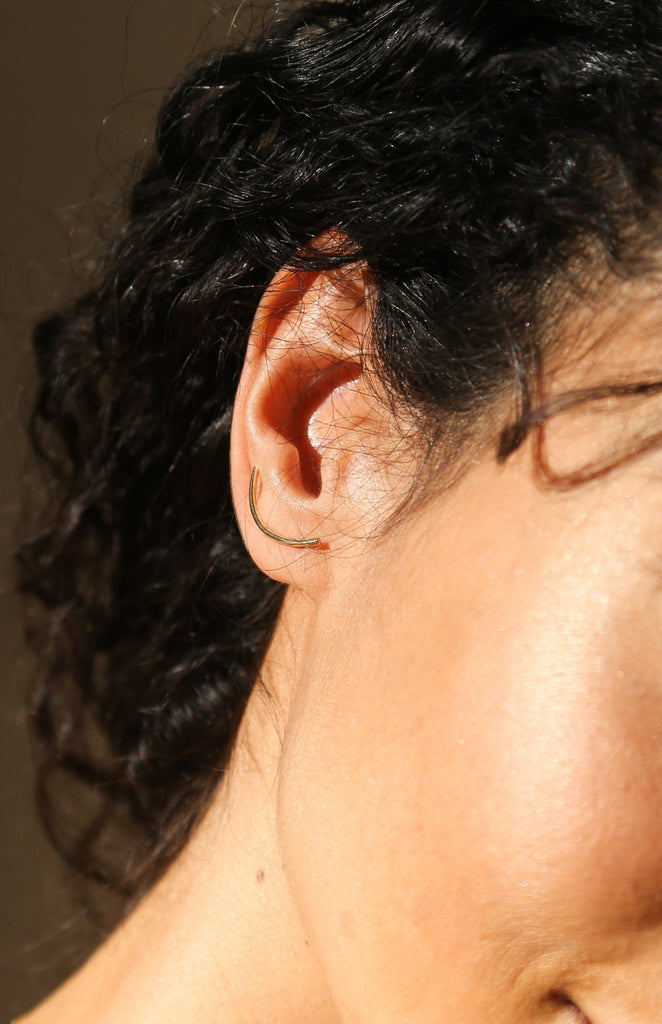 Miss matched earcuff pair in solid gold