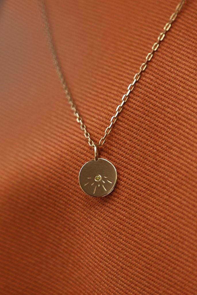 Sun pendant - charm in solid gold handmade by Adriana Chede Jewellery