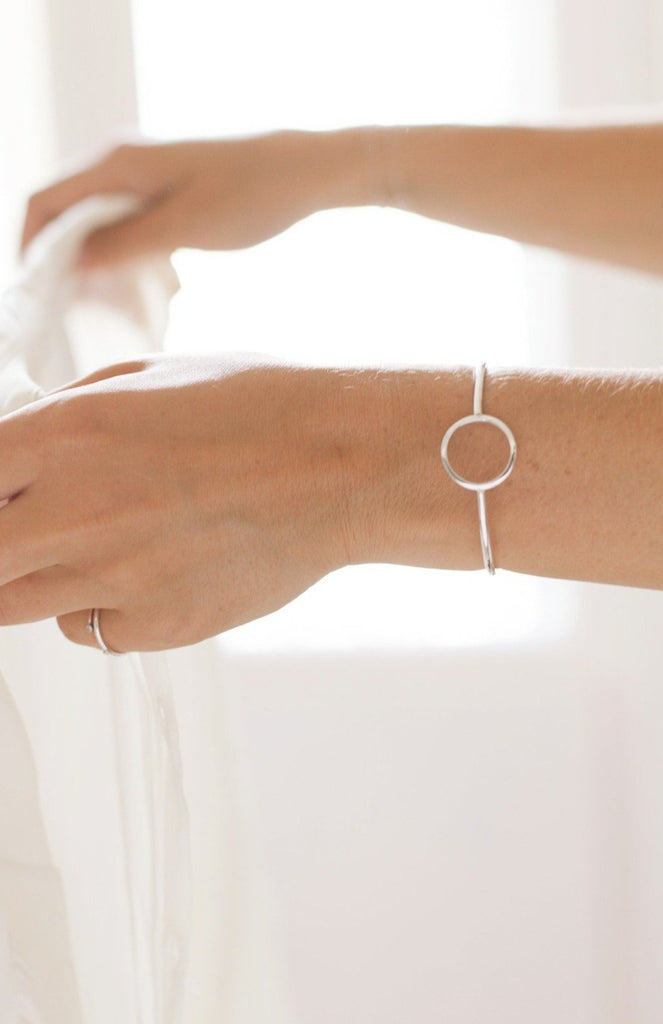 Silver cuff handmade by Adriana Chede Jewellery London