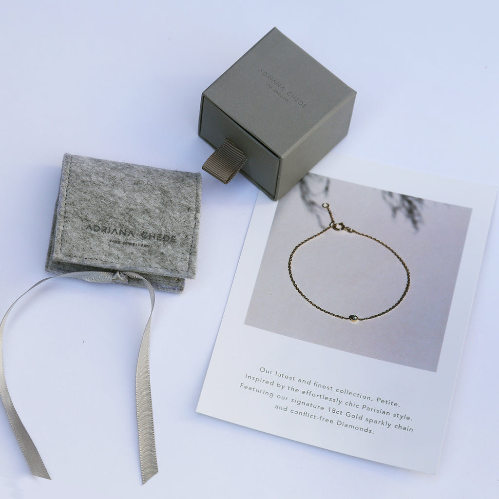 Sustainable Packaging using recycled plastic bottle felt - Adriana Chede Jewellery