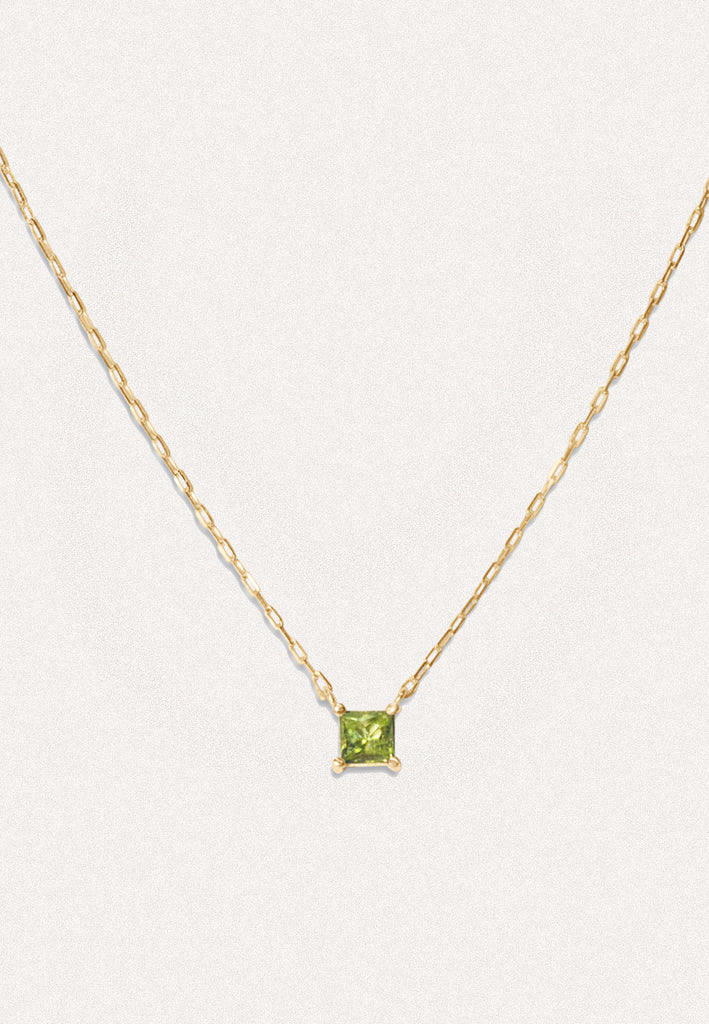 Solid Gold Unique Necklace with Peridot