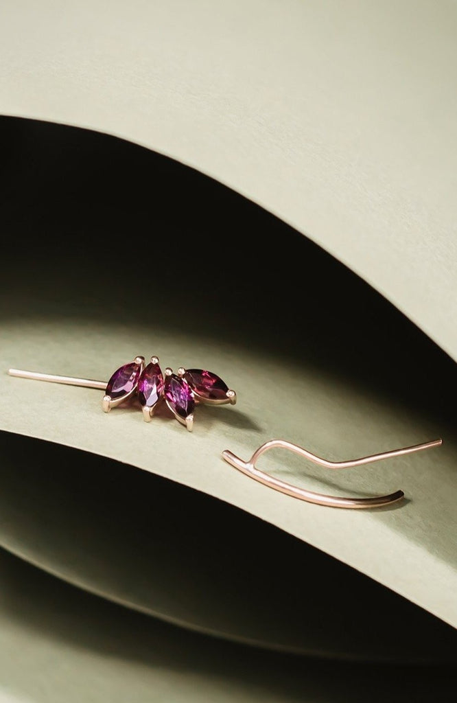 Rubellite Brazilian Gemstones Earcuff Solid Gold London - Adriana Chede Jewellery